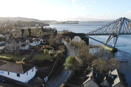 Drone photo of Craiglora Cottage and Connel Bridge